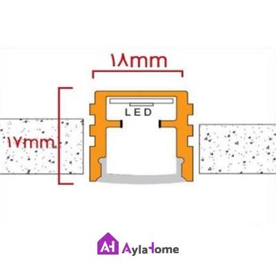 پروفیل آلومینیومی نور خطی توکار بدون لبه بدون تیغه وسط کد 1-905